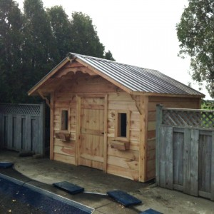 garden shed with porch overhang